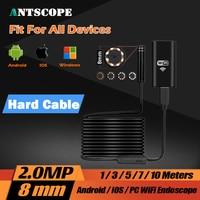 8LED 2MP HD720P Wifi Wireless Hard Flexible Snake USB Android IOS Endoscope Camera Iphone USB Pipe