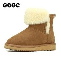 GOGC 2018 Fox Fur Ankle Boots Women's Winter Boots Genuine Leather Women's Winter Shoes Breathable Women's Boots Female Footwear