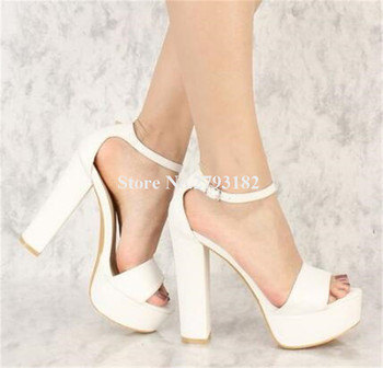 white open toe chunky heels