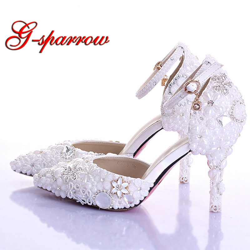 White Imitation Pearl Wedding Shoes Pointed Toe Bridal High Heel Shoes with Ankle Straps Sexy Woman