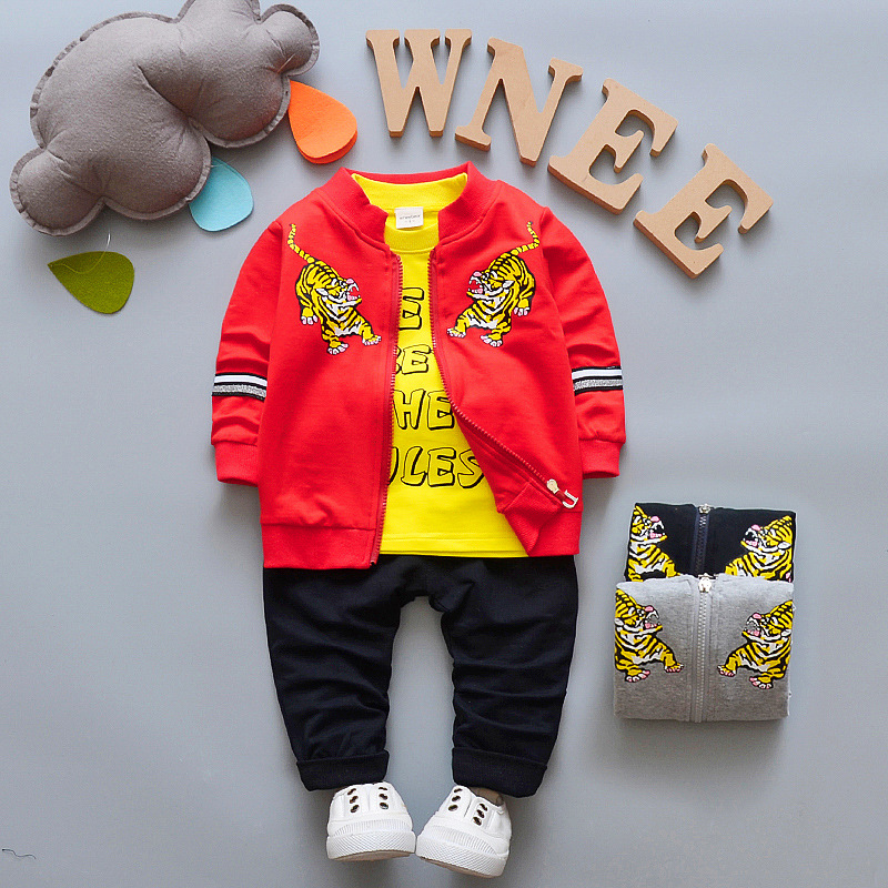 Baby Boy Suit Casual Children's Clothing Sets Cowboy Jacket+T-shirt+Pants Kids 3pcs Suit  Infant Baby Boys Cartoon Tiger Clothes