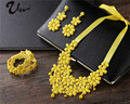 2015 новая мода, акриловые ожерелья, серьги, ювелирное изделие, три комплекта, красное свадебное украшение