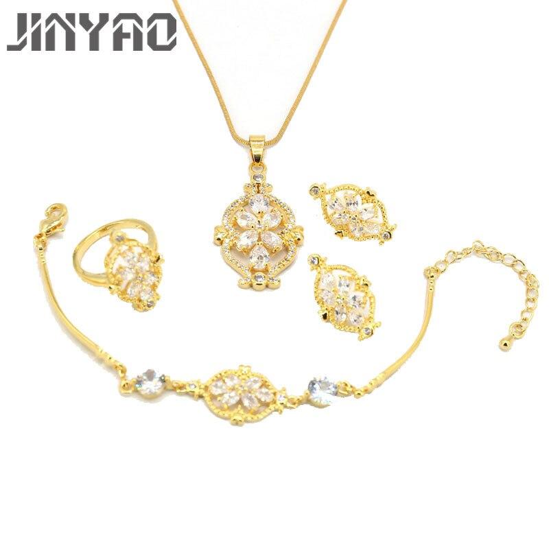 JINYAO Luxury Women Wedding Pendant Necklace Earrings Ring Bridal Jewelry Set Yellow Gold Color AAA Zircon Set Anniversary Gift