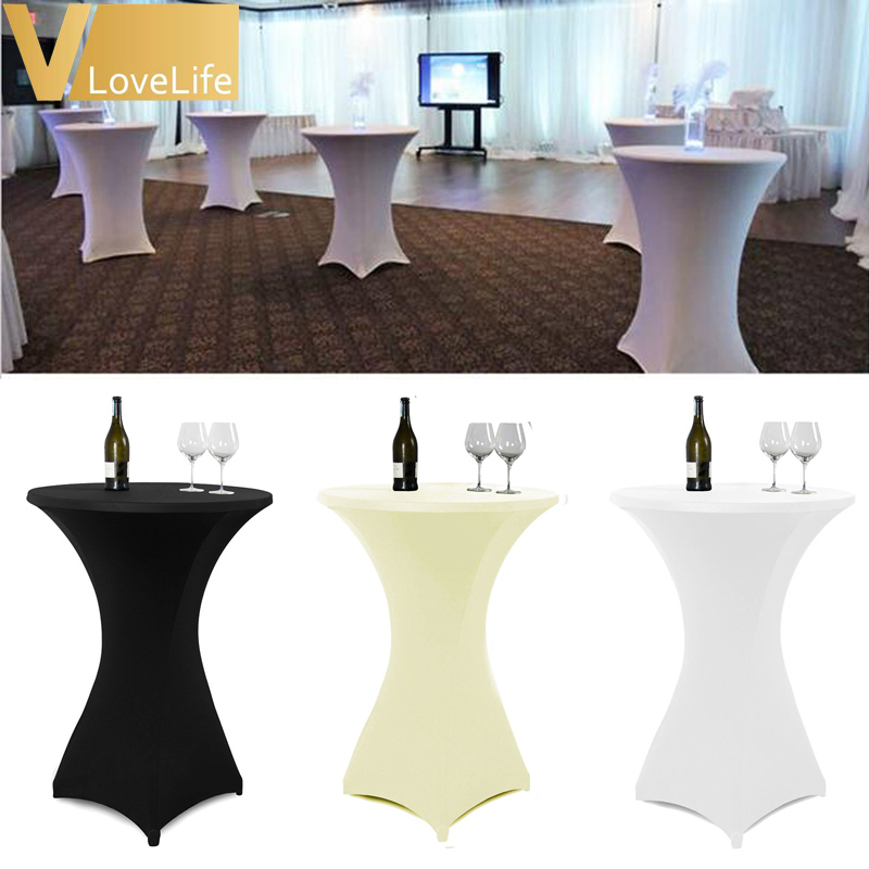 Aliexpress.com : Buy 5pcs 80cm White/Black/Ivory Cocktail Table Cover Lycra  Spandex Stretch Tablecloth For Bar Bistro Wedding Party Event Decoration  From ...