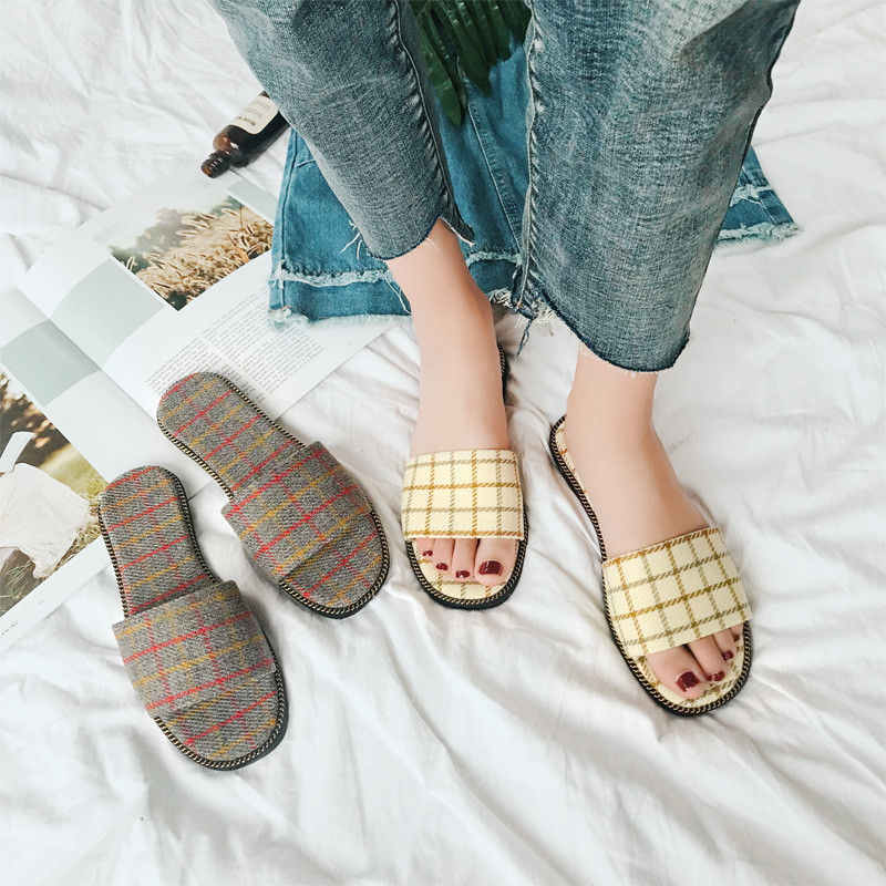 PHYANIC модный бренд Gingham женские шлепанцы удобная обувь квадратный носок женская обувь на плоской подошве шлепанцы Лоферы Шлёпанцы сандалии