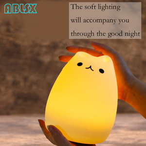 Image 5 - Karikatür Kedi Led Gece Lambası 3D Hayvan Armatür Gece Lambası Çocuklar Için Başucu Lambası Noel Noel 7 Renk Değişti Gece Işıkları