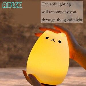 Image 5 - Luz Nocturna Led de dibujos animados con diseño de gato, luminaria de animales en 3D, luz nocturna para niños junto a la lámpara, Navidad, 7 colores cambiados, luces nocturnas