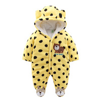 Baby Cotton Romper Warm Winter Baby Romper One-piece Thick Hooded Newbron Jumpsuit Animal Style Baby Clothes