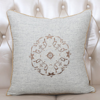 New Embroidery Round Pattern Sofa Cushion Cotton Linen Fashion Simple Home Office Seat Chair Backrest Lumbar