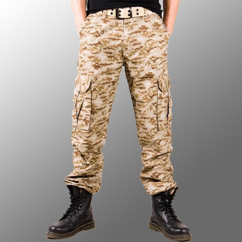 2017 hombre foto Real Outwear hombres pantalones de camuflaje moda Multi bolsillos militar ejército pantalones Joggers Camo Baggy Cargo Pantalones - 5