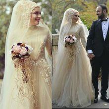 Gelinlik Hijab Muslim Elegant Women Dress For Wedding Party Engagement Light Yellow Floor Length Long Sleeve Wedding Gowns 2017