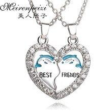 Jewelry 1 Pair Women Men Best Friend Heart Silver Pendants Necklace Bff Friendship Forever Creative Girl Keepsake Gift