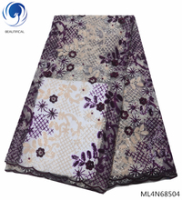 BEAUTIFICAL nigeria lace purple wedding fabric sequins african french with and beads high quality ML4N685