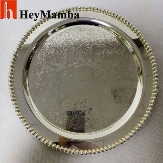 10Pcs/lot Silver Plate Sets Metal Wedding Cake Stand Diameter 30cm Round  Cake Tray Dinner