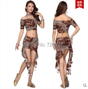Image 3 - Костюм для танца живота топ леопарда павлина + короткая юбка из молочного шелка 2 шт./компл.