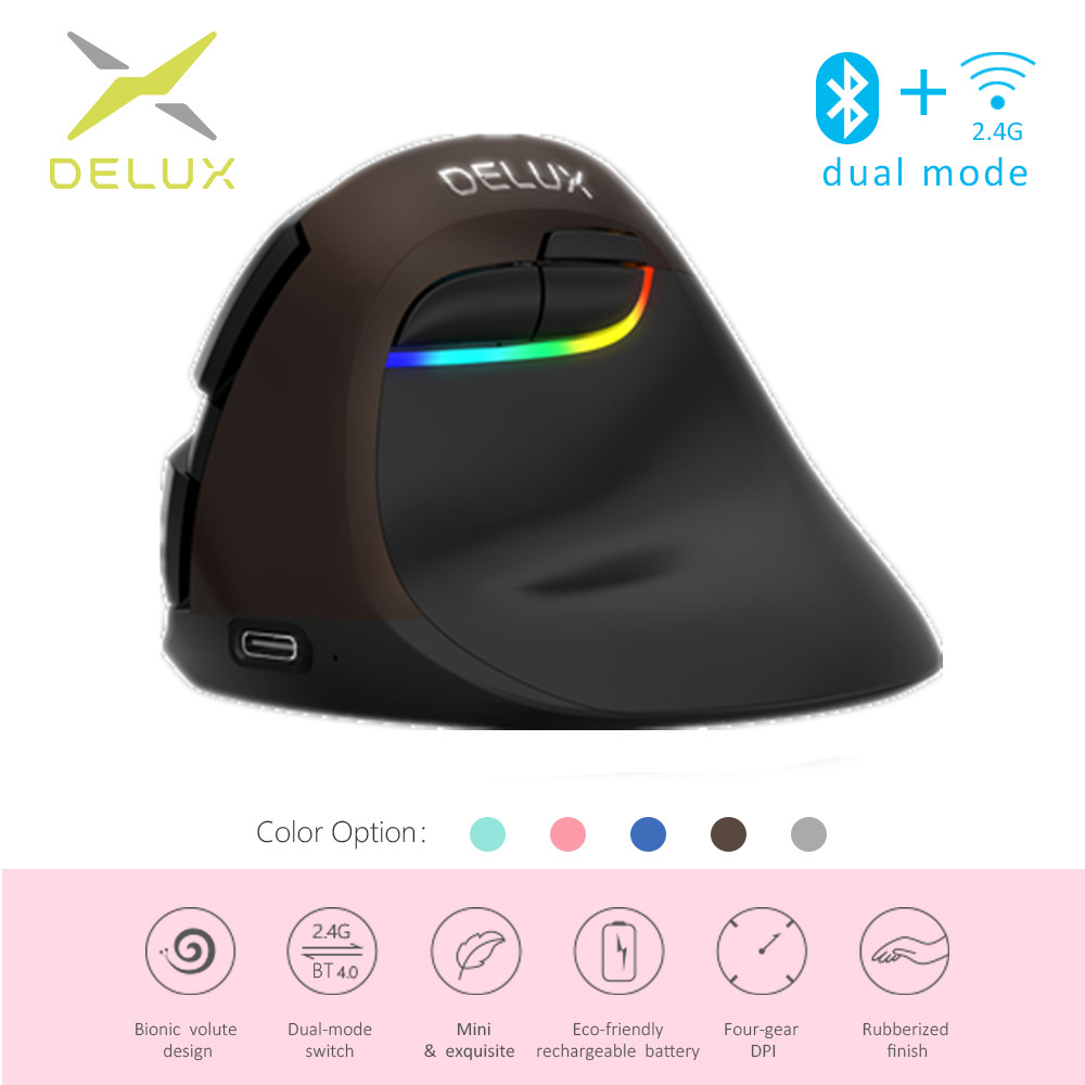 Image 2 - Delux M618 Mini Ergonomic Mouse Wireless Vertical Mouse Bluetooth Black 2.4GHz RGB Rechargeable Silent click Mice for Office-in Mice from Computer & Office
