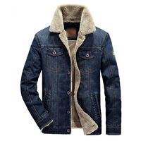 Fleece Denim Jacket For Men Winter Thick Coat Male Fashion Clothing Men Top Quality Brand Jacket Male Multi Pocket Casual Jeans