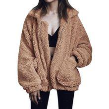 Plus Size XS-3XL Women Fashion Fluffy Shaggy Faux Fur Warm Winter Coat Cardigan Bomber Jacket Lady Coats Zipper Outwear Jackets