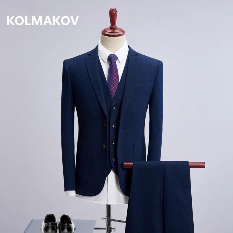Mens Formal Dress Groom Business Casual Suit 3PCS Blazer Jacket Vest Pants New L