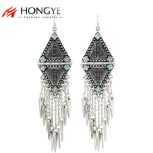 Fashion 2017 New Arrival Punk Women Ethnic Vintage Silver Color Tassels Chunky Statement Drop Long Earrings