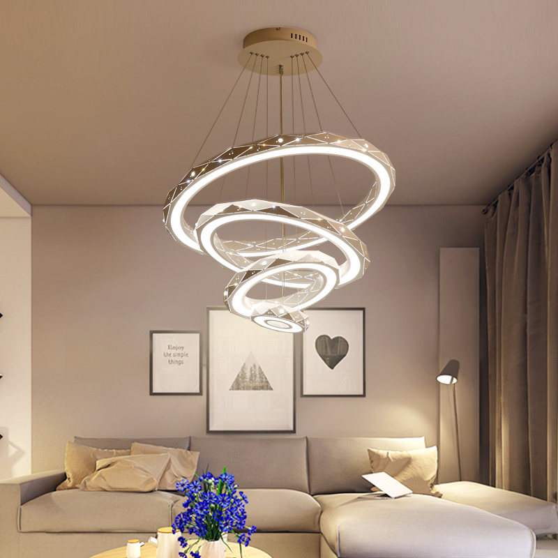 Post Modern ABS Iron Lampshade Led Rings Chandelier Lighting Ceiling Hanging Pendant Light Fixtures for Living Room Home Decor
