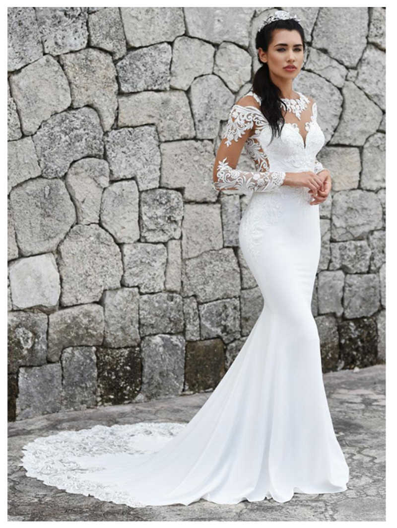 LORIE 2019 Mermaid Wedding Dresses Long Sleeves  Appliques Lace Beach Bride Dress Sexy See Through Back Wedding Gown Hot Sale