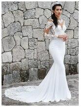 Lorie 2019 인어 웨딩 드레스 긴 소매 아플리케 레이스 비치 신부 드레스 섹시한 다시 웨딩 드레스를 통해 볼 뜨거운 판매