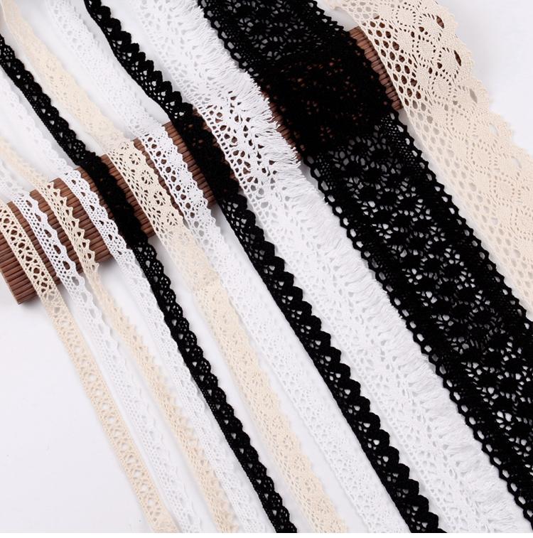 fengrise одежда ткани швейные поделки 5 ярдов цвета слоновой кости черной отделкой хлопок вязаное кружево ткань ленты ручной работы аксессуары ремесло