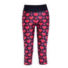 3D Women Cropped Sport Pants Fitness Capris Leggings Body Building Workout Training Gym 7 Points Trousers Red Love Print LN7Slgs