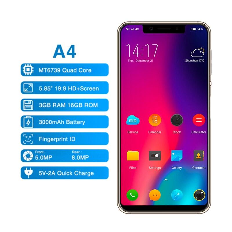 Elephone A4 смартфон 5,85 18:9 Face ID Android 8,1 3 ГБ + 16 Гб MTK6739 четырехъядерный отпечаток пальца 8MP Cam 4G LTE мобильный телефон OTG - 2