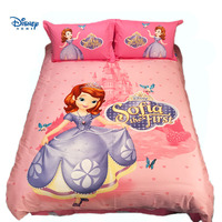 Sofia the first print bed cover single twin queen king size comforter bedding set girl teens linens sheet 100% cotton pink color