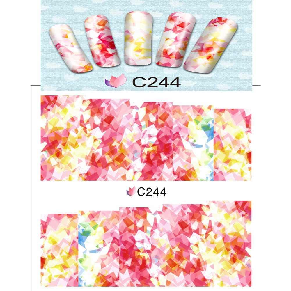 Adhesivo deslizable de agua para decoración de uñas, adhesivos coloridos para cabeza de flor, Calavera, Calavera, C244-251 de vidrio roto HALLOWEE