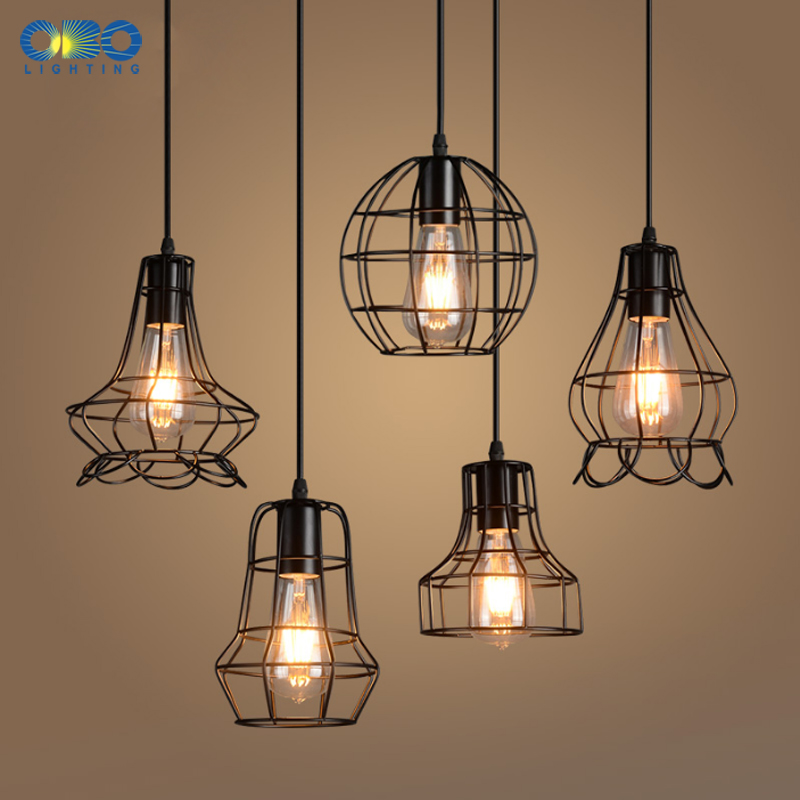 Vintage Black Basket Painted Iron Pendant Lamps Indoor Bra Coffee House Lighting Wire Cord 1 2 1 5m E27 110 240V Free Shipping in Pendant Lights from Lights Lighting