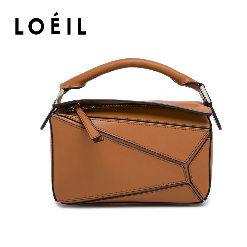 LOEIL 2018 new European and American fashion simple geometric mosaic leather handbags shoulder bag temperament wild loeil leather ladies bag european and american fashion handbags shoulder messenger bag cowhide handbags bag