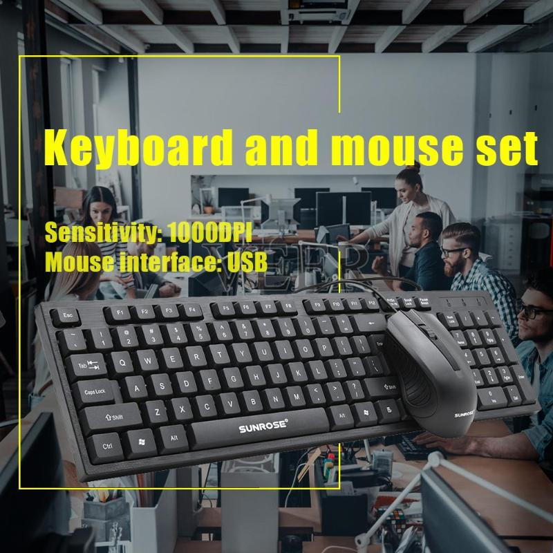 SUNROSE MK10 Office Wired USB 104 Keys Keyboard+1000 DPI 3 Keys Mouse Kit Multi function Game keyboard For Home Office Computer-in Keyboards from Computer & Office