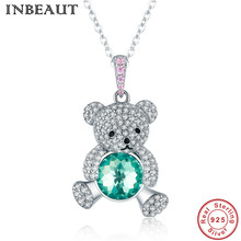 INBEAUT Real 925 Sterling Silver Cuddly Baby Bear Pendant Necklace Women Round White Pink Zircon Lovely Animal Shaped Chain