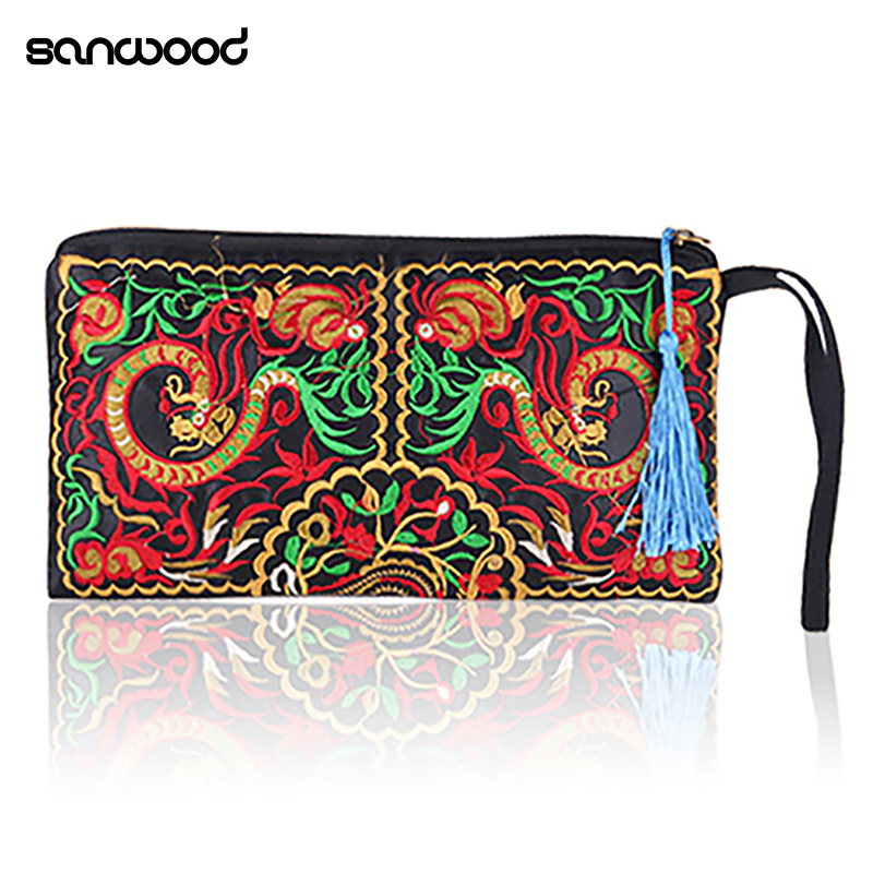 Women Handbag Purse Retro Embroidered Phone Coin Storage Zipper Bag with Tassel