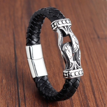 Punk Braid Leather Rope Bracelet for Men Jewelry Black Stainless Steel Clasp Wristband Fashion Bangles Personalized Gifts