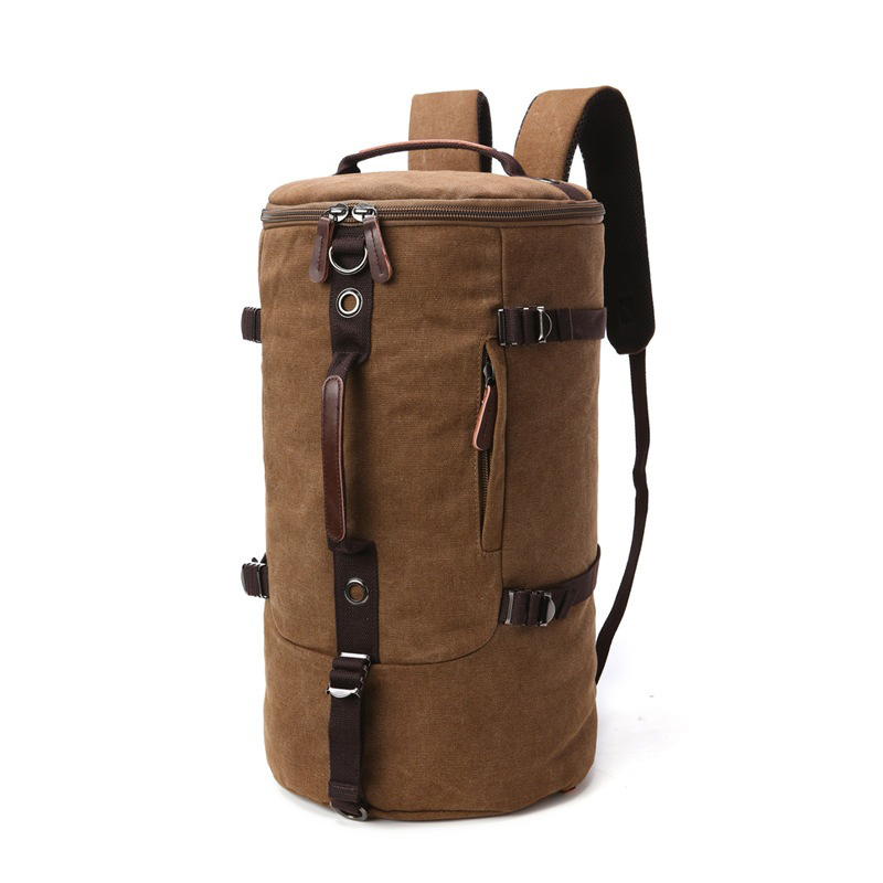 Boshikang Canvas Backpack Men Large Capacity Cylinder Bag Men Shoulder Portable Three use Bag Men s