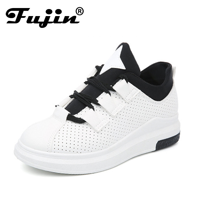 Fujin 2018 New Spring Sneakers women Breathable Hollow Out Casual Shoes Female Flats  Soft Leather Fashion Comfortable Shoe 2018 leather shoes women spring summer simple nude color female flats soft sole breathable footwear free shipping