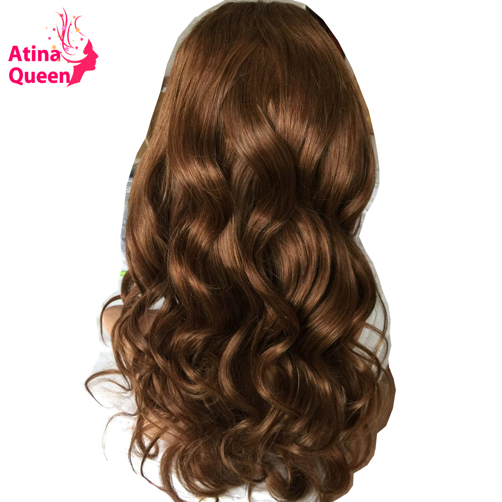 Color 30 Brown Lace Wig 180 Density 13 3 Brazilian Lace Front Human Hair Wigs for