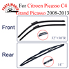 Wiper Blades For Citroen C4 Grand Picasso 2008 2013 Rubber Front And Rear Windshield Auto Wipers