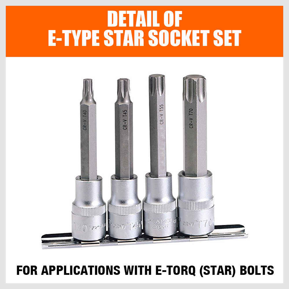 HORUSDY 11Pieces Socket Wrench Set Torx Star Bits External Female E Socket Set Automotive Shop Tools With Rail