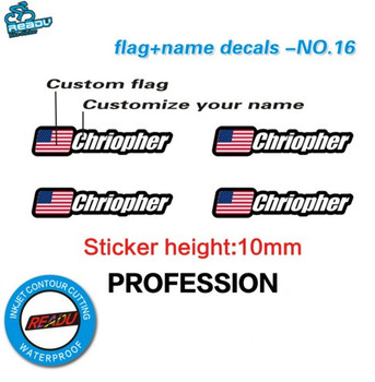 4 Pieces Flag and Name Sticker Mountain Bike Frame Logo Personal Name Decals Custom Rider ID Sticker Bike Stickers brompton stickers