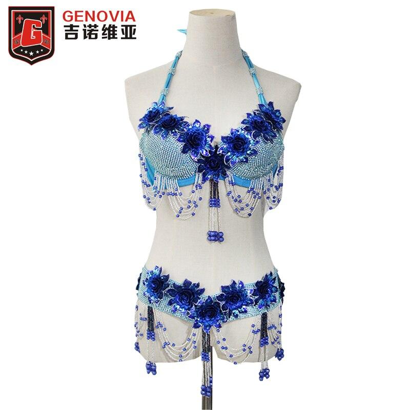 ホットデザインのハンドメイドビーズベリーダンス衣装のスーツ 2 個ブラ & ベルト女性ダンスの摩耗カクテル社交ラテンサルササンバセット  グループ上の ノベルティ & 特殊用途 からの ベリーダンス の中 1