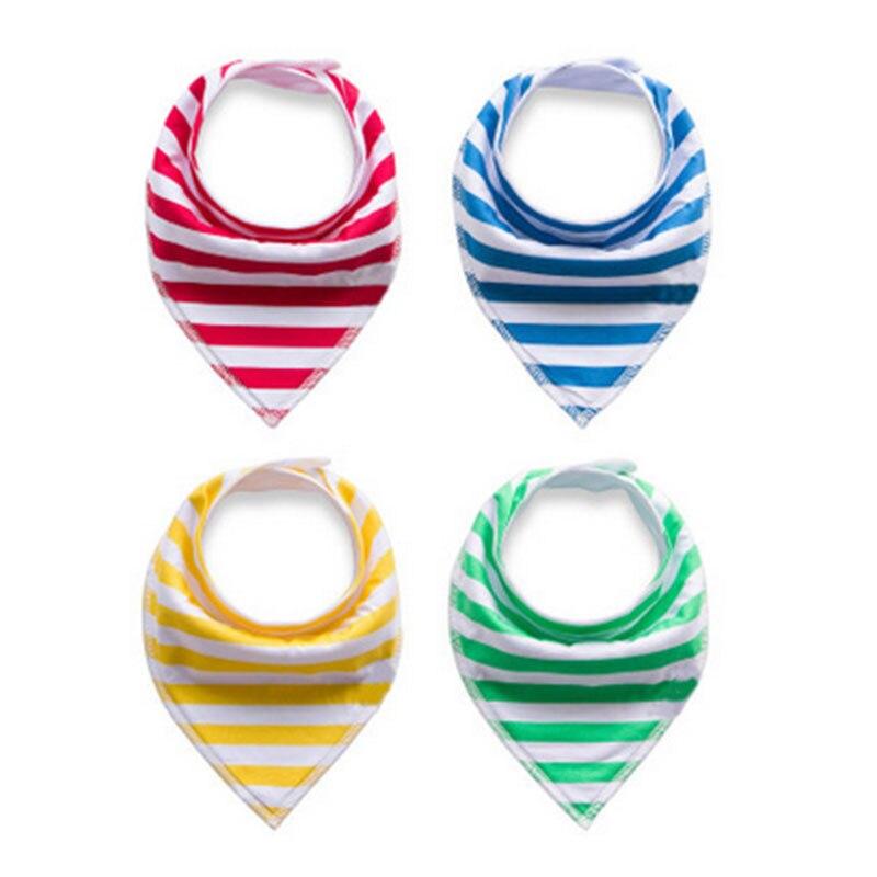 4Pcs/Set Cotton Baby Bib Triangle Double Layers Feeding Bibs Cute Cotton Random Color