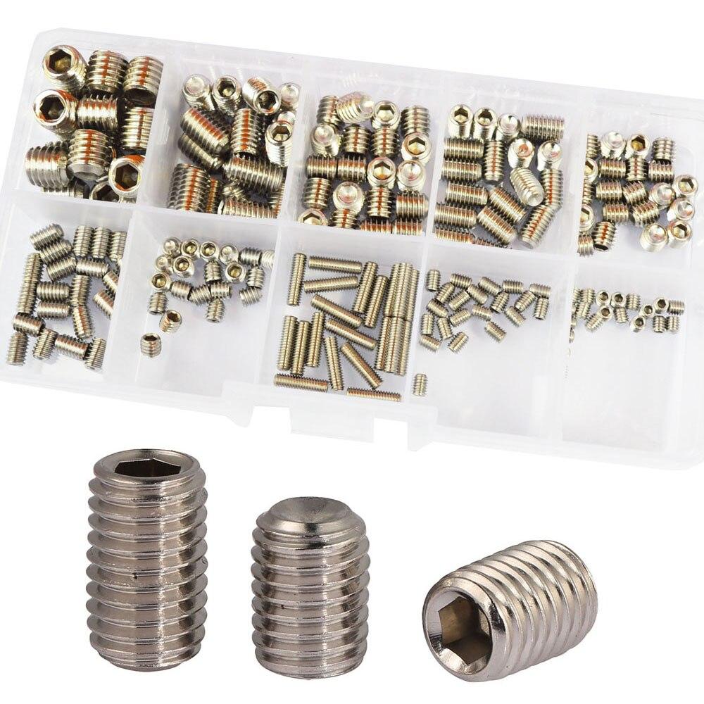 304Stainless Steel Set Grub Metric Headless Screw M3 M4 M5 M6 M8 Hex Allen Socket Head Screw Bolt Assrotment Kit 200Pcs
