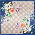 Nuevos productos enumerados 90 cm * 90 cm nueva bufanda MS geranio flores bufandas de seda grandes plazas