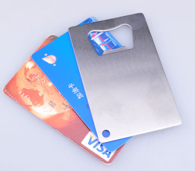 Freeshipping 400pcs Polybag Packing Wallet Size Stainless Steel Credit Card Bottle Opener