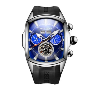 Image 5 - Reef Tiger/RT Designer Sport Watches with Tourbillon Stainless Steel Rubber Strap Blue Dial Automatic Watches RGA3069